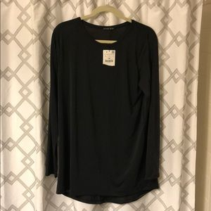 Zara Collection Black Silky Long Sleeve Top  NWT